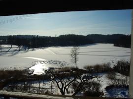Widok z tarasu na jezioro zimą.